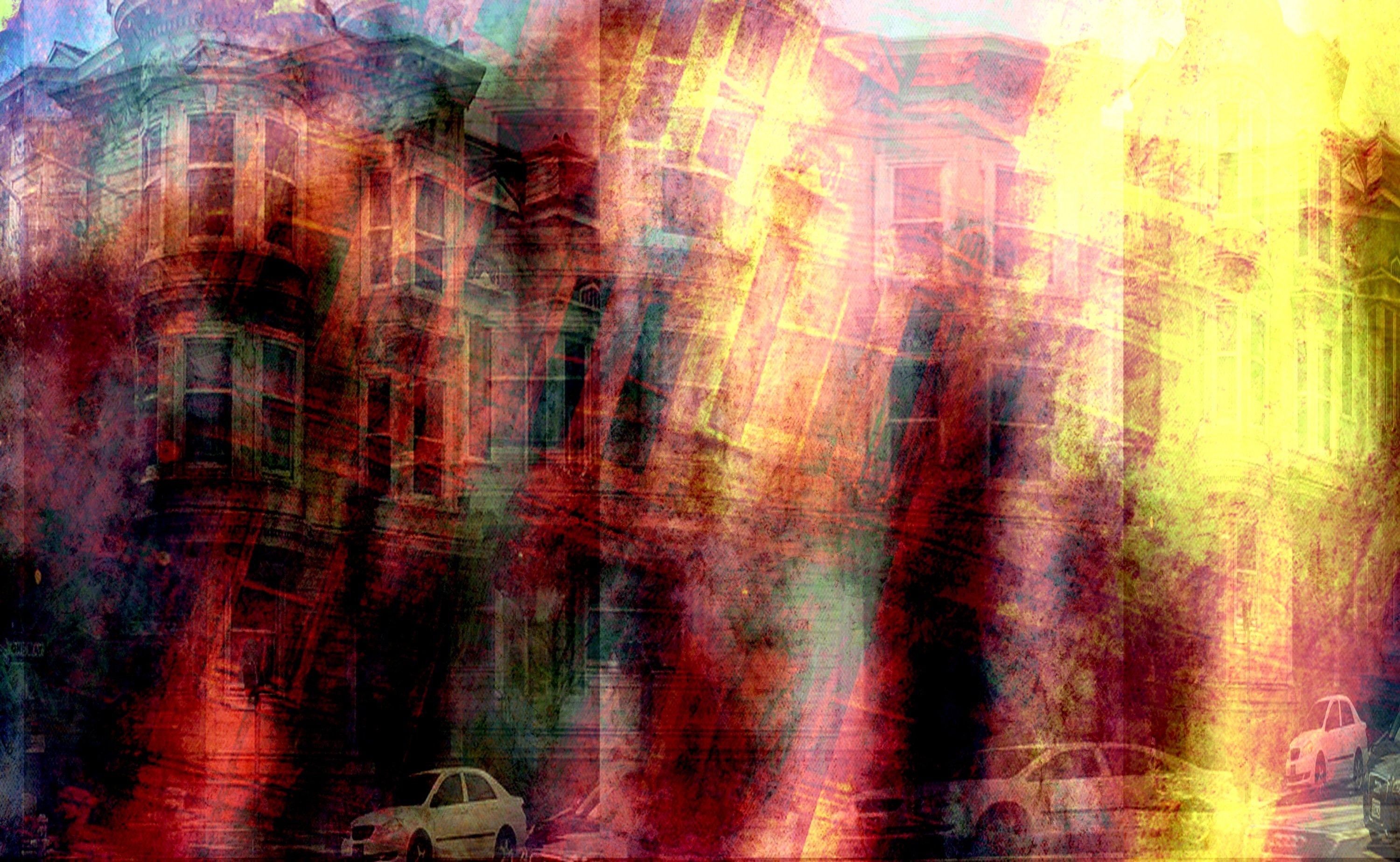 A shot I took and photoshopped, layering the same image over itself and then tilting it.  I love the energy and colors...